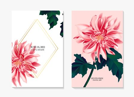 Dahlia daisy sunflower, Romantic floral template. Wedding card in soft pink colors, summer season wild flower buds, bloom , leaves. Vector.