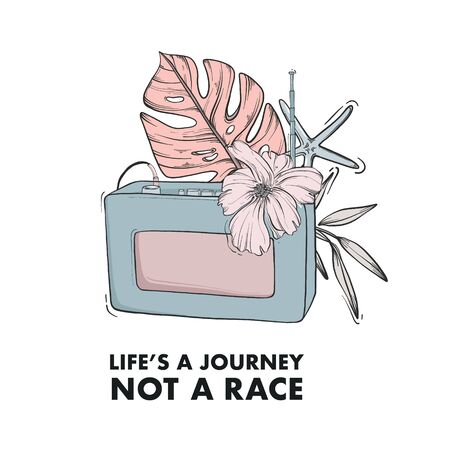 Retro radio vintage electronics, floral background consept. Lifestyle quote, motivational inspiration text. Vector t-shirt template, apparel design, art print, poster. Ilustração