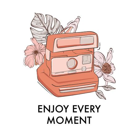Photocamera with instant photos, floral bloom drawing, modern quote, lifestyle motivation text. Enjoy every moment typography with retro han-drawn  illustration. Vector.