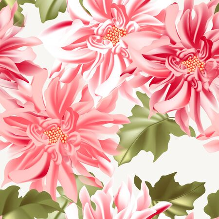 Dahlia sunflower seamless realistic pattern. Modern daisy floral background for wallpaper, cloth texture, fabrics, packaging, wrapping paper, banners. Çizim