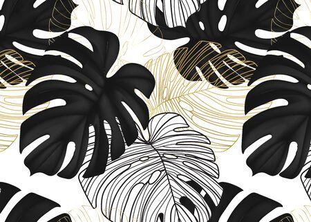 Monstera black leaves, gold line art, botanical nature leaf dark decorative background. Modern foliage wild decoration pattern in vector.  イラスト・ベクター素材