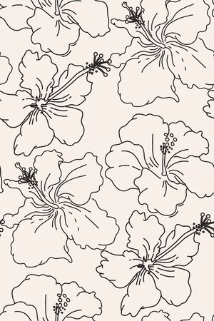 Line art floral hibiscus pattern, seamless fabric decoration.  Outlline exotic flowers distinct drawings vector. Pastel graphics, delicate botanical art.