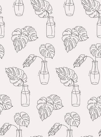 Monstera outline plants in pots seamless design on light background. Jungle plant design , eco packaging pattern. Botanical boho houseplant vector design.