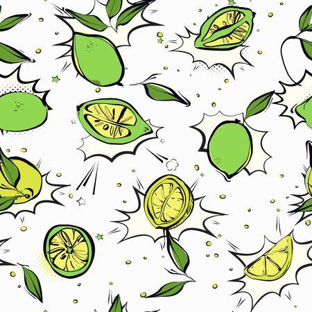 Lime slices seamless  pattern, oganic lemon anti virus ,microbe, flu vitamin food. Healthy fruit illustration . Vector. 写真素材