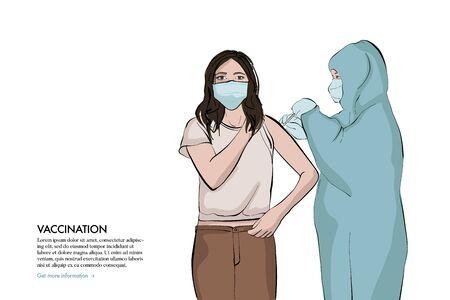 Anaesthetist making arm injection to girl. Anti flu virus syringe shot illustration. Nurse taking care of patient, coronavirus fight quarantine art. Vector cartoon flat character.  イラスト・ベクター素材