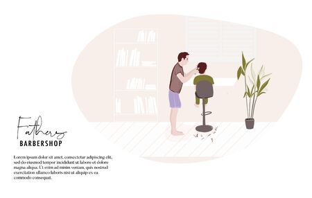 Father making haircut at home, quarantine isolation activity. Modern cartoon flat illustration, people daily life, dad and child spending time together in weekend. Vector. Ilustración de vector