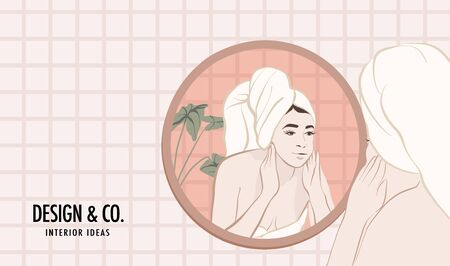 Girl in bathroom weekend illustration. Cartoon flat woman in mirror having spa, making face massage. Relax people concept in vector, social media advertiing.
