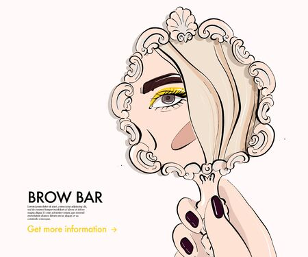 Woman doing Makeup looking in mirror, cosmetology procedure, skin care, beauty aesthetic. Glamour fashion illustration. Cartoon character skin care treatment, advertising art.
