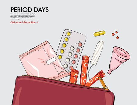 Oral contraceptive, tampons, pads, cup, pillls in beauty purse, pperiod illustration. Menstruation cycle woman medical art. Hand-drawn vector treatment design, monthly cycle drugs.  Ilustração