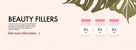Medical beauty injection, hyaluronic acid, vitamin filler, volume booster, collagen syringe art. Cosmetic procedure advertising. Skin care threatment design in vector, flat social media illustration.