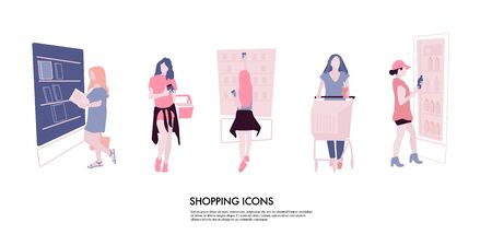 Woman making Shopping cartoon concept. Girl with shopping cart, buying food consumers. People in Market flat illustration .
