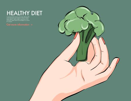 Helthy food nutrition art, broccoli in hand keto diet drawing. Fresh vegetable food dietolog recommendation, nutritionist  organic food. Vector illustration .