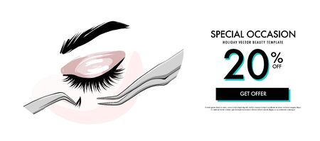 Lash making cosmetic procedure promotion banner. Fake eye lashes on  beauty  treatment, applying false lash, brow lamination  procedure. Fashion , female small business illustration in vector.