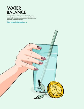 Lemon Water drinking, woman holding glass of water with mint. Water hydration daily balance illustration. Natural  Mineral cartoon flat illustration concept  in vector.