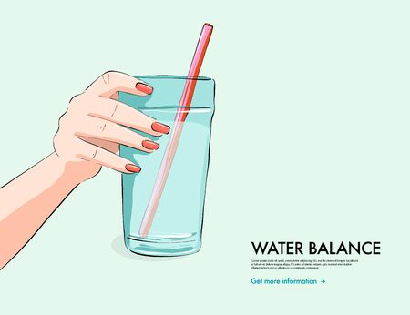 Woman holding  glass of water, water hydration illustration, summer water balance wellbeing  illustration. Vector flat art. Ilustrace