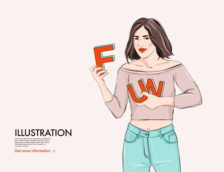 Happy woman with fun letters, typography word poster design. Cartoon girl character lifestyle art with marketing quote. Advertising people concept, positive model, stylish fashion illustration vector.