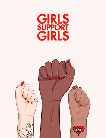 Girls support girls, woman arm divercity equality poster. Feminist power poster. Anti-discrimination, stop racist active social print. Girl power banner.  Vector voice matters  canvas, printable  art. Ilustrace