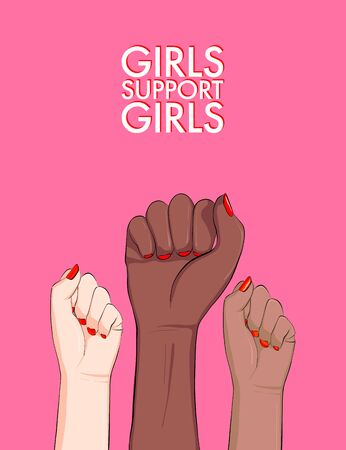 Girl support feminist anti racist protest poster. Vector woman arm feminism sticker, hand-drawn illustration, female solidarity activism protest. Empowerment badge, inspirational typography quote.