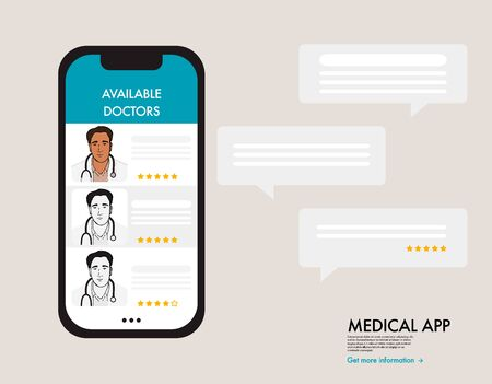Online doctor support therapy, virtual healthcare chat, medical call, nurses review. Mobile appointment medical communication, pharmacy prescription art.  Cartoon character infographic, vector art.