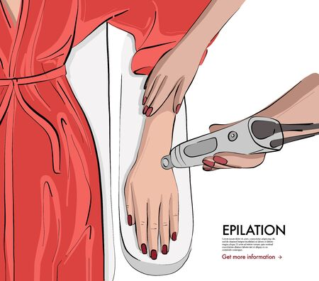 Laser epilation, natural hand  shaving in spa salon, beauty female procedure advertising. Hair removal, shaving, self care body skin treatment sketch, medical healthy procedure, peeling  vector.