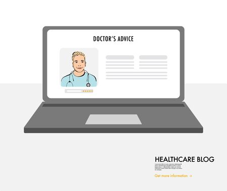 Online doctors blog on laptop, Healthcare consultation, hospital digital communication. Web applicaation for nurses, doctors, medical stuff. Proffesional specialist concultation cartoon vector design