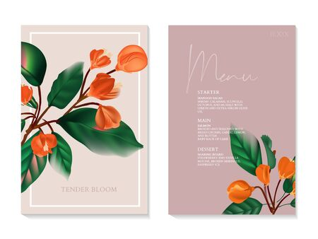 Holiday invite card with orange flower branch, party design flyer, nature save the date art. Special day celebration invitation, poster, menu design in vector.