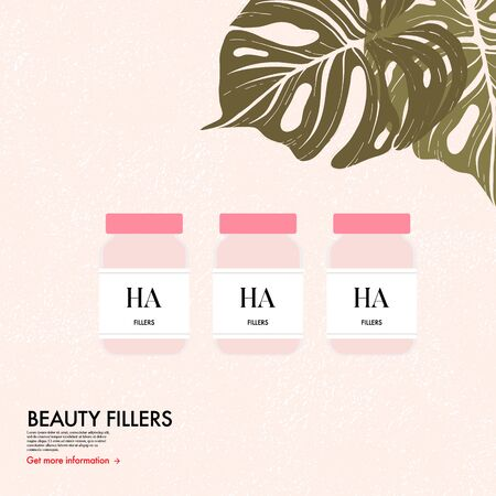 Hyaluronic acid and collagen skin injection bottle, Women cosmetolog skin care injection. Vitamin face care treatment. Hyaluronian an serum hydration, spa procedure vector flat beauty illustration.