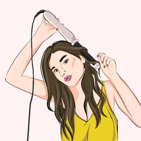 Woman curling hair with curling iron or flat iron. Haidresser illustration, beauty salon at home, teenager styling long hair, beautican srt. Hair stylist urban fashion drawing in vector.