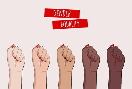 Woman hands clenched fists, feminist protest, support girls. Female power diversity, raised fist strong girl concept international woman day. Anti racism, stop discrimination, xenophobia vector. Illustration