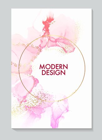 Alcohol liquid ink with  Pink brush strokes, gold foil elements. Resin acrylic splash, mable texture circle border for invitation, poster, banner, notebook, planner, flyer in vector.