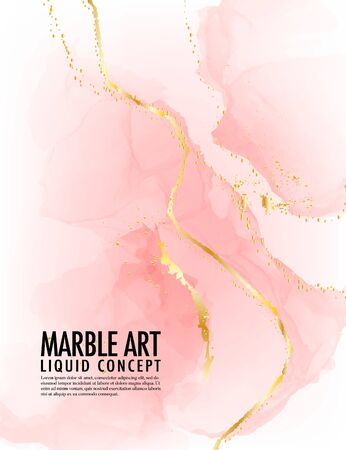 Marble pink background Vector. A;cohol ink golden texture. Acrylic template for wedding, invitation, poster, web banner, greeting card, pattern, wallpaper illustration. Ilustrace