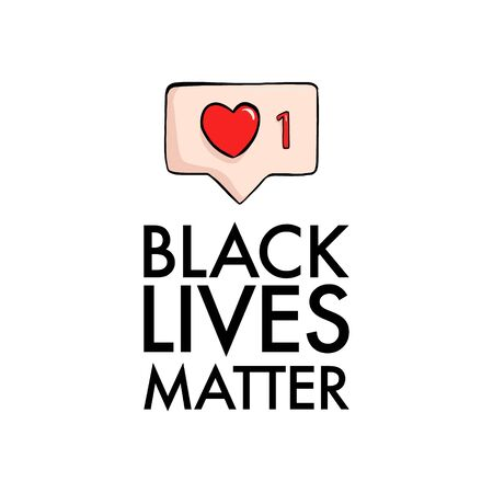Black livea matter sticker, badge, quote, illustratio. Soial media like sign, racial protest, anti racism, stop discrimination slogan. Black people power, equality rights. USA 2020 Vector art. Ilustrace