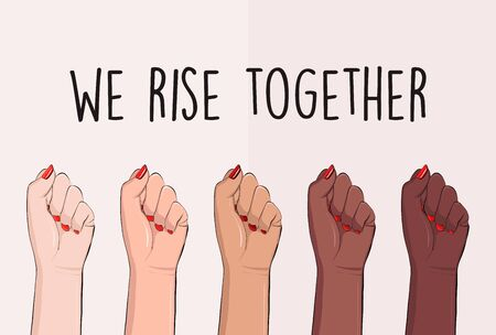 We rise together political slogan, black lives matter activist  hand poster. Anti racism, stop discrimination equality symbol. Equity protest, black human power unite quote. Tolerance, acceptance text