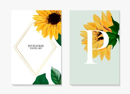 Sunflower plant, Helianthus hybrid black yellow petal greeting wedding card. Summer garden wildflower beauty blossom botanical card. Nature holiday card in vector. Ilustrace