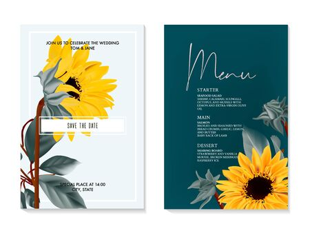Sunflower watercolor vector wedding card. Summer nature yelow flower macro bloom. Helianthus greeting card, menu card, rsvp invitation, seeds and oil , rustic design. Greenery botanical frame. Ilustrace