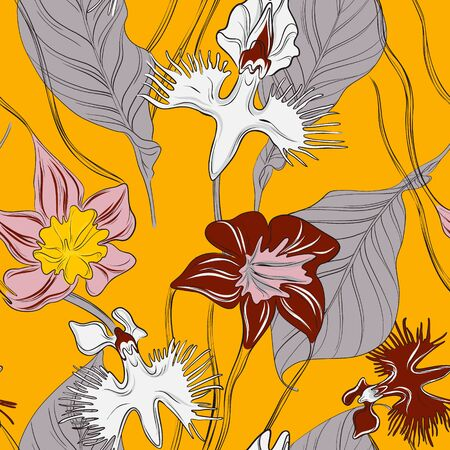 Orchids with leaves floral wallpaper, seamless pattern design. Botanical vintage Contrast tropical backgroung. Spring summer plant, nature decoration in vector, yellow, grey colors.