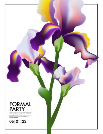 Iris flower wedding card. Irises Blooming floral violet summer plant, nature purple greeting, Save tha date party card. Garden frame Delicate beauty vibrant anniversary birthday card. Vector flora.