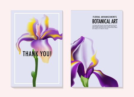 Watercolor Irises wedding invitatoin cards, greeting card onine template kit. Summer holiday art. Violet purple  Floral garden bouquet, bridal romantic custom design. Vector illustration.
