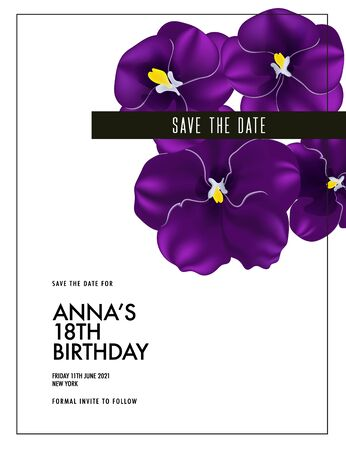 Watercolor purple  pansy bloom, wedding card template. Custom  Violet floral save the date decoration, romantic summer elegant design. Botanical birthday greeting card.  Vector nature plant. Ilustrace