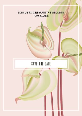 Watercolor Anthurium flower save the date card. Botanical flower print bouquet holiday greeting, big macro flora buds. Summer natural bloom. Vector wedding art.