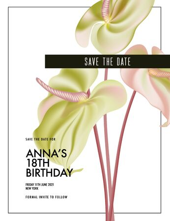 Watercolor Anthurium wedding flower save the date invitation, greeting card. Botanical flower vector bouquet holiday, macro flora bud. Summer natural bloom.Soft pink green elegant business decoration.