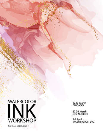 Pink marble paint  with gold abstract liquid texture poster. Fluid resin art design in vector. Gradient Background flyer, modern pattern, acrylic ink cover,  trendy print template .