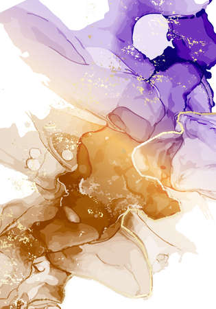 Watercolor abstract violet ink, liquid flow  isolated on white, fashion contrast alcohol ink ombre palette, grungy smear rustic brown violet, gold blush vector, resin art for gidital products. 免版税图像