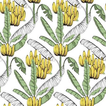 Banana custom jungle fabric seamless pattern, tropical exotic home decor wallaper, textile cloth design. Line art sketch unique creative summer vibes, wild nature background in vector