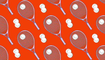 Sport seamless pattern, Tennis racket and ball game decoration background. Nursery print in red color. Outdoor activity design, fabric cloth .