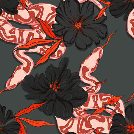 Dangerous garden snake pattern, reptile and peony floral wallaper, wildlife macro seamless background. Red black contrst graphic floral decoration in vector. Wild rose nature macro print