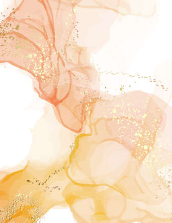 Abstract watercolor marble stain texture. Pastel illustration vintage design, neutral warm colors ink splash with digital gold glitters, sparkles, smudged elements in vector. Stock Illustratie