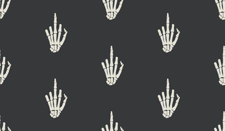 Fuck gesture sign, rentgen hand bones seamless pattern design. Skeleton hand background.  Funny tattoo old school print, wrapping paper, fabrics, branding, cloth print dark art. rock metal print