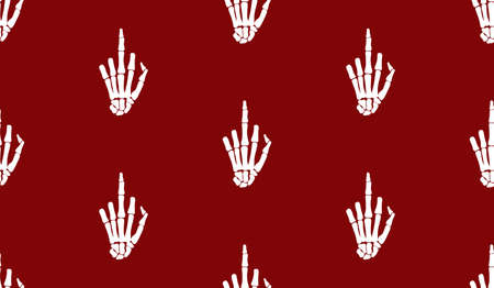 Fuck gesture sign, rentgen hand bones seamless pattern design. Skeleton hand background.  Funny tattoo old school print, wrapping paper, fabrics, branding, cloth print red drawing Illustration