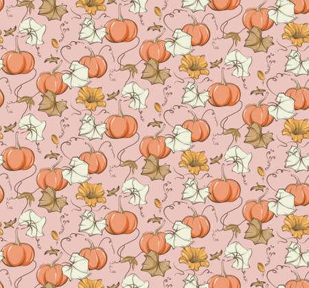 Fall pumpkin seamless pattern. Fairy tale nursery repeat background, wild flower autumn bloom illustration.  Kids baby girl kitchen print,home decor  texture, bedroom design